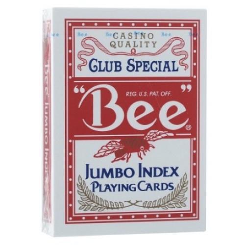 Карты Bee №77 красные - jumbo (крупный индекс)