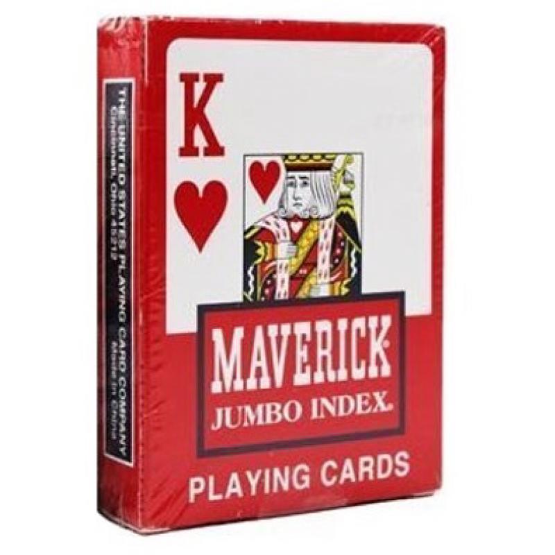 Игральные карты MAVERICK – JUMBO INDEX красные